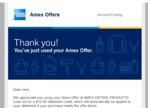 email from amex for using amex twitter sync offer