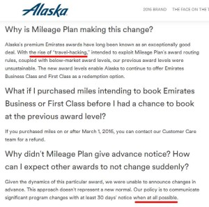 alaska airlines sorta sorry for no notice brutal devaluation but not really