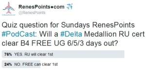 when will a delta ru cert clear - before free upgrades - no