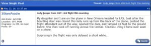 3StarsFoodie on flyertalk posts about passagner opens door on Delta jet DL1325 23MAY16 and runs accross tarmac