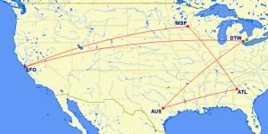 AUS-ATL-MSP-SFO-DTW-AUS MR Map