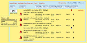 AUS-SFO MR FLight Details