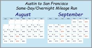 AUS-SFO MR Fare Calendar