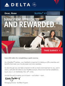 Delta Air Lines SkyMiles survey for 250 points RenesPoints blog review (1)