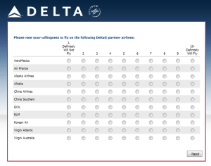 Delta Air Lines SkyMiles survey for 250 points RenesPoints blog review (9)