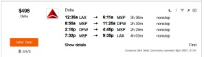 Los Angeles LAX - Dallas DFW Delta Air Lines First Class Mileage Run Aug 10 2016 Kayak