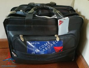 RenesPoints computer bag with Delta Welcome Aboard sticker