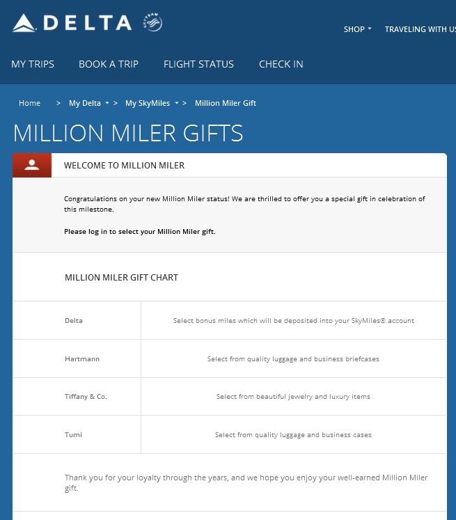 delta million miler gift choice - Renés PointsRenés Points