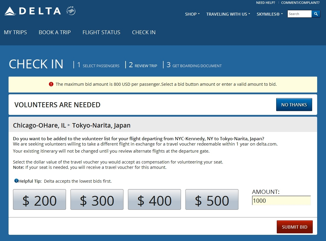 delta will not let me bid over 800 dollars for a bump renespoints million miler run to japan