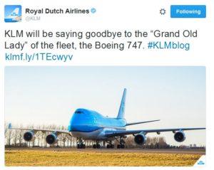 klm tweet will stop flying 747 jets