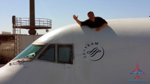 rene with head out the 747 escape hatch NRT airport RenesPoints blog - small