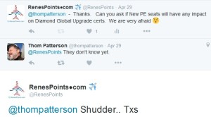 thom patterson what delta says about PE seats and Delta Medallion global upgrade certs