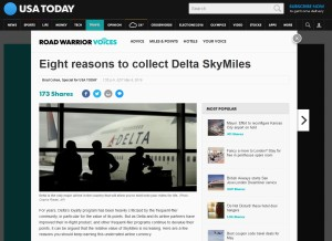 usa today says eight reasons to collect delta SkyMiles