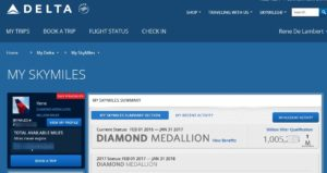 my million miler status is showing on delta-com