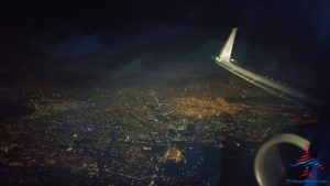 Over Mexico City at night RenesPoints Travel Blog