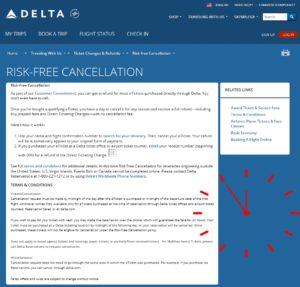 delta risk free cancel rules
