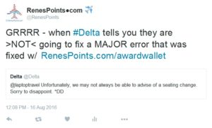 delta tweet not going to let us know about seat changes