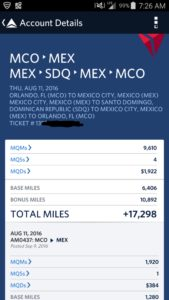 AeroMexico Mileage Run numbers credit to Delta