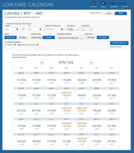 delta award page for 2 from msp to ams summer 2017
