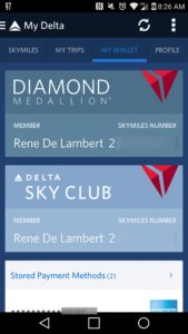 screen shot from fly delta app renespoints sky club and skymiles cards