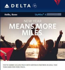 Delta tells me i earned almost a quarter of a million SkyMiles with partners in 2016 RenesPoints blog