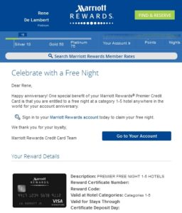 my free night cert for my chase marriott card