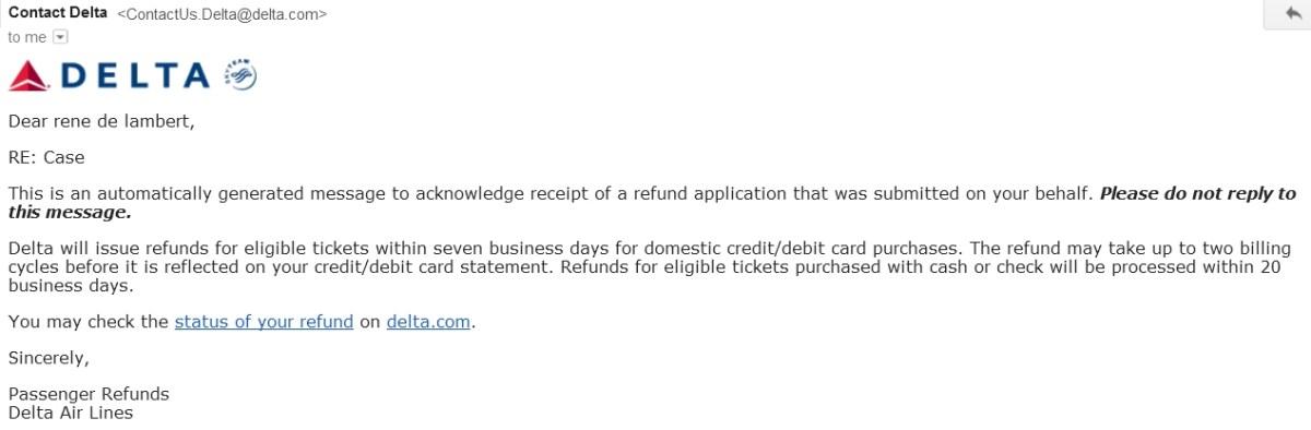 delta refund email