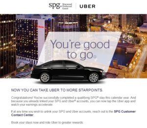 uber bonus spg stay email