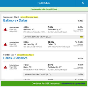 BWI - DFW 3 Night Priceline Fare
