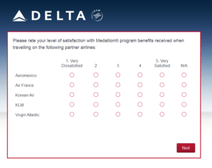 New Delta Air Lines SkyMiles survey for 250 SkyMiles - how would you vote (17)