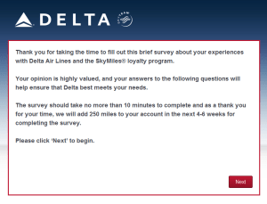 New Delta Air Lines SkyMiles survey for 250 SkyMiles - how would you vote (2)