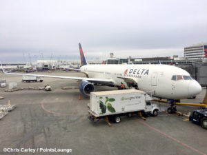 A Delta Air Lines 767 is seen from the Delta Sky Club at Seattle SeaTac International Airport - SEA - in Washington state.