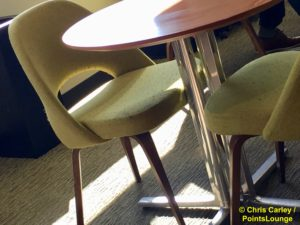 Dining room chairs are seen at The CLUB at SJC airport lounge at Norman Y. Mineta San Jose International Airport in San Jose, California.