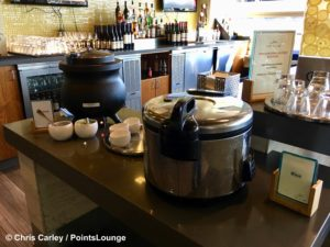 Pots of miso soup and rice are seen at The CLUB at SJC airport lounge at Norman Y. Mineta San Jose International Airport in San Jose, California.