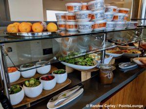 A salad bar is displayed at The CLUB at SJC airport lounge at Norman Y. Mineta San Jose International Airport in San Jose, California.
