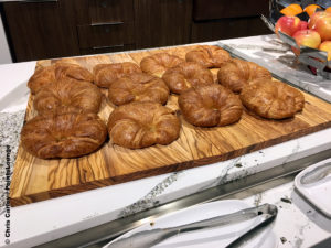 Croissants are seen at the breakfast buffet inside the Delta Sky Club Austin airport lounge at Austin-Bergstrom International Airport (AUS) in Austin, Texas. Photo © Chris Carley / PointsLounge