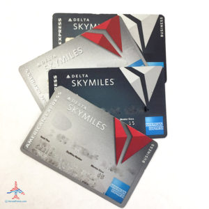 A collage of Delta Platinum and Delta Reserve credit cards.
