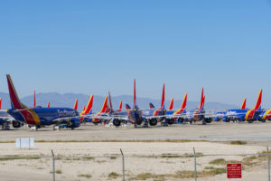 Grounded Boeing 737 MAX 8 aircraft fleet of Southwest Airlines in storage at Victorville, CA. on May 4, 2019. (Photo credit: ©iStock.com/RobertMichaud)