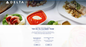 First class meal pre-order menu on Delta Air Lines' website.