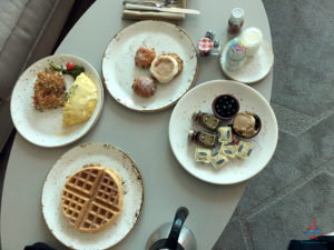 Room service breakfast at Delano Las Vegas, which is included in Amex FHR breakfast credit.
