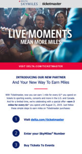 Email announcing Delta and Ticketmaster's promotion for SkyMiles on ticket purchases.
