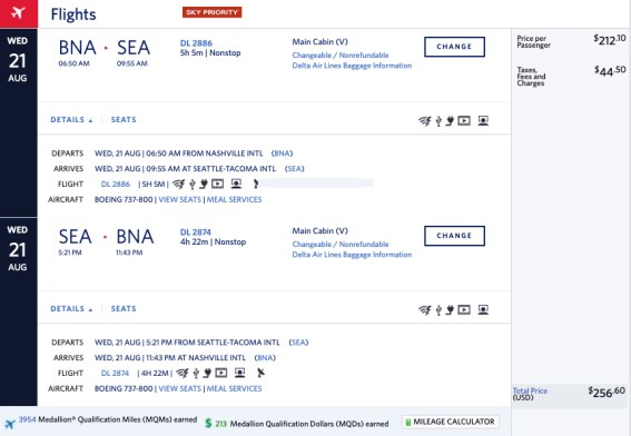 Delta Amex Offer mileage run from Nashville (BNA) to Seattle (SEA)