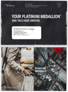 Delta Platinum Medallion 2019 Welcome kit envelope.