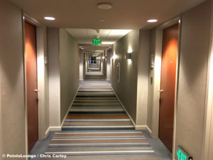 A hallway at the Grand Hyatt DFW airport hotel in Dallas, Texas.