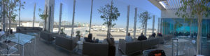 Panoramic view from the deck at the United Club LAX Airport Lounge.