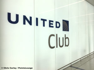 The United Club at LAX airport lounge entrance sign in Terminal 7.