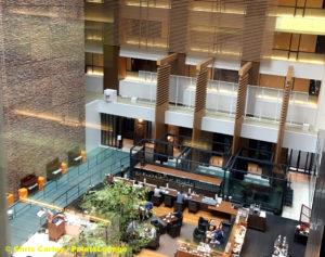 Atrium and lobby restaurant at InterContinental ANA The Strings Tokyo.