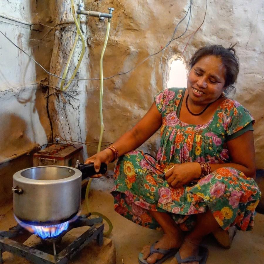 a woman using renewable energy