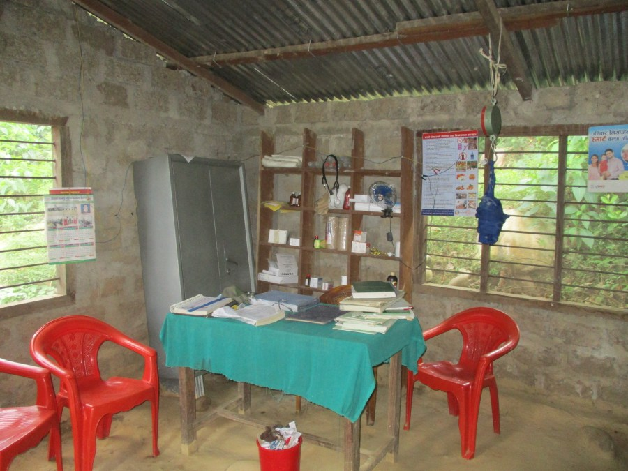 The basic local health post in Surkhet with limited health supplies and information.