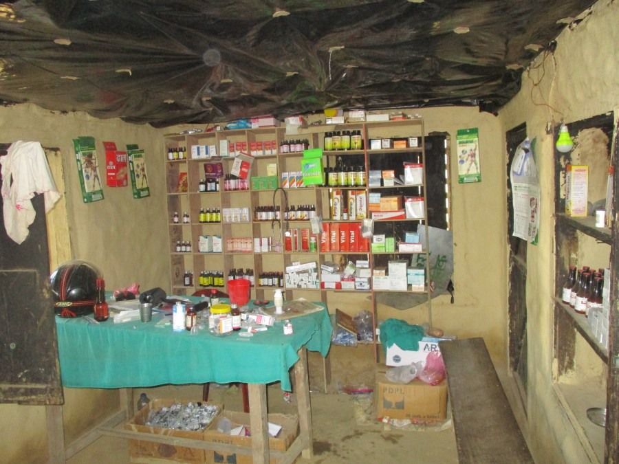 The basic local health post in Surkhet with poor stocks of supplies and no electricity.